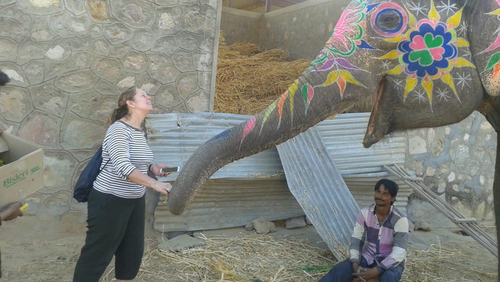 Claudia shares a moment with the Elephants