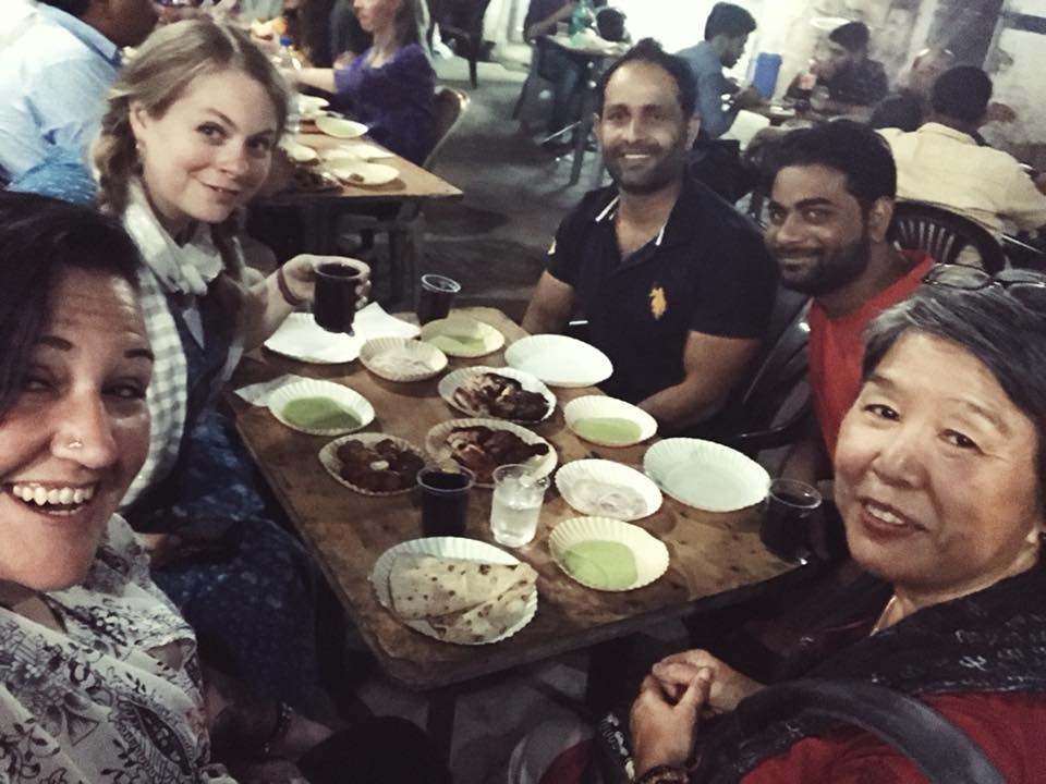 Dana, Katey, and Noreen enjoy some fabulous BBQ in Jaipur with their friends