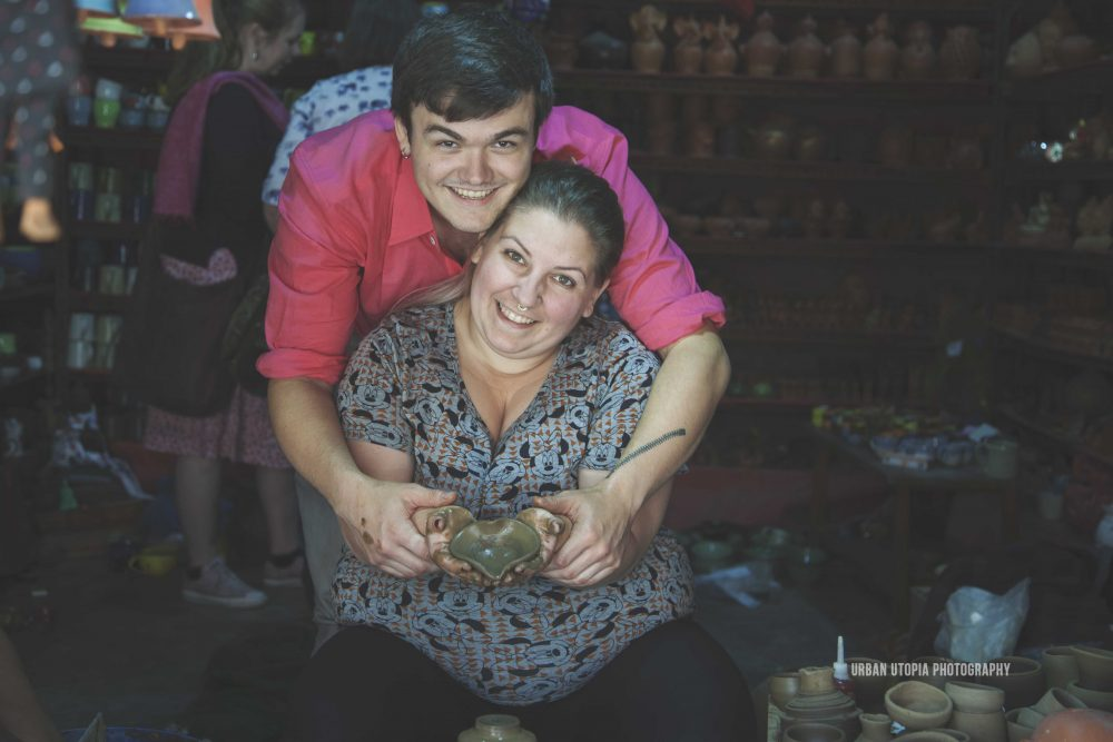 Courtney and Daniel try their hand at pottery in Bhaktapur