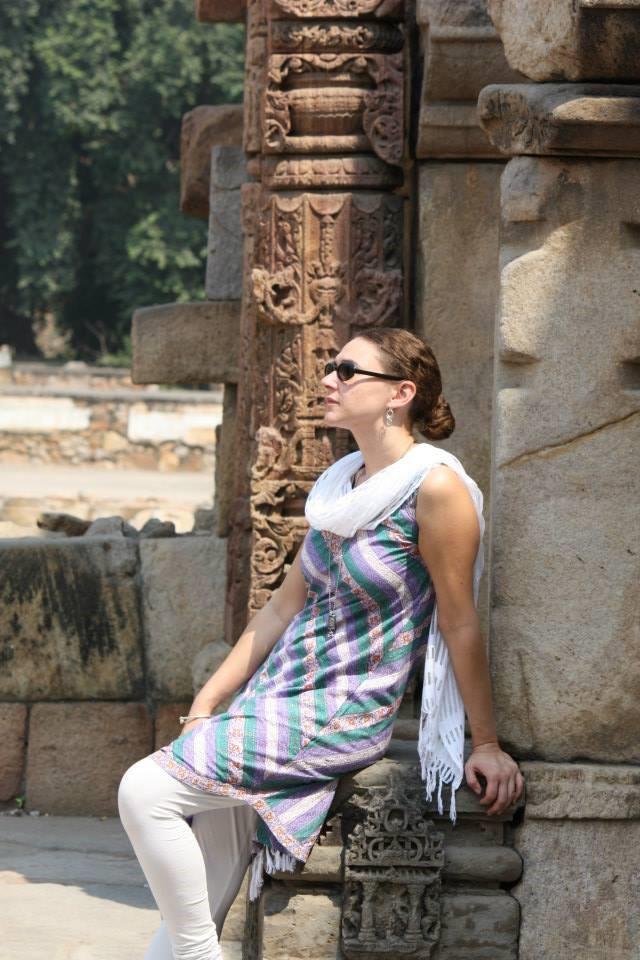 Tammy enjoys a peaceful moment at Qutab Minar