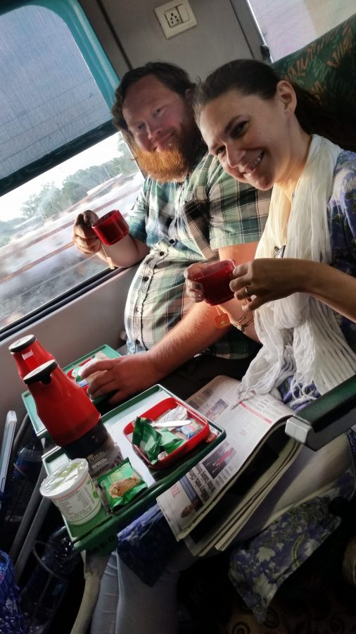 Randy and Tammy have tea on the train