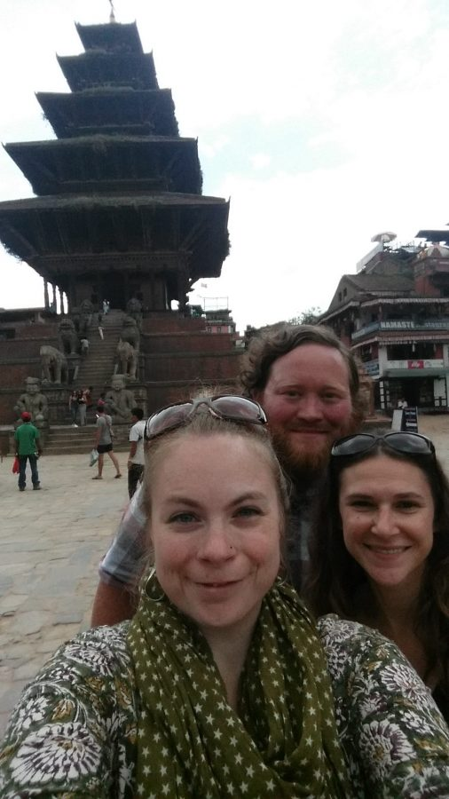 Katey, Randy, and Tammy in Bhaktapur