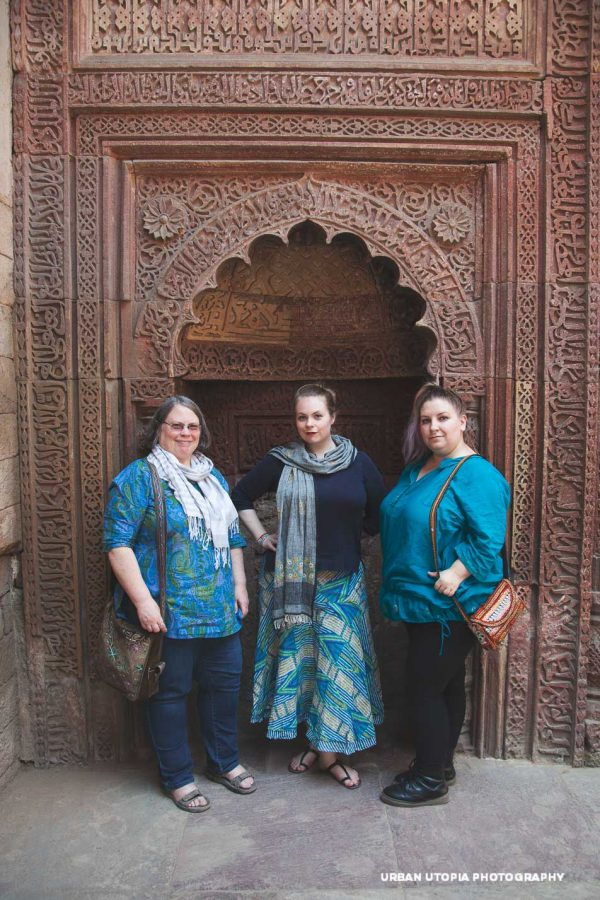 Francesca, Katey, and Courtney looking good in teal at Qutab Minar