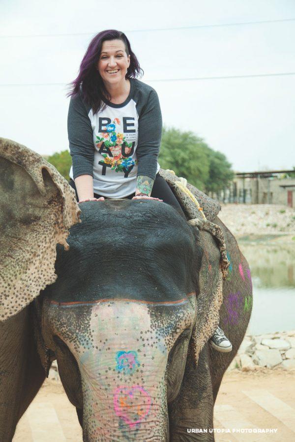 Dana rides an elephant